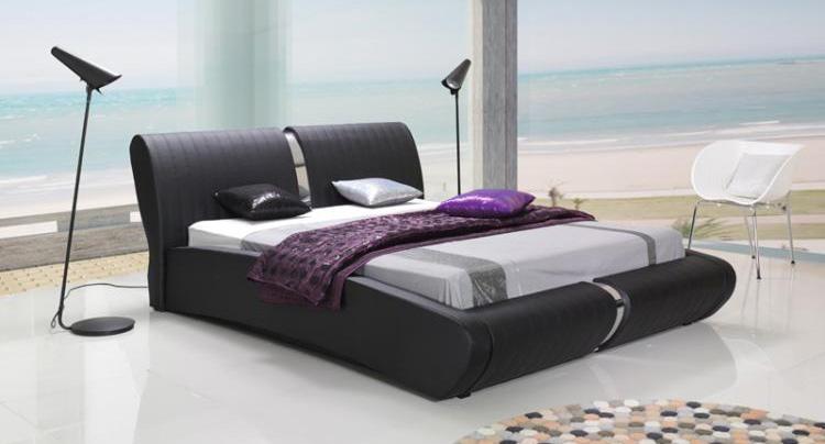 cama moderna doble en cuero expos adecuaci n de locales On diseño cama doble moderna
