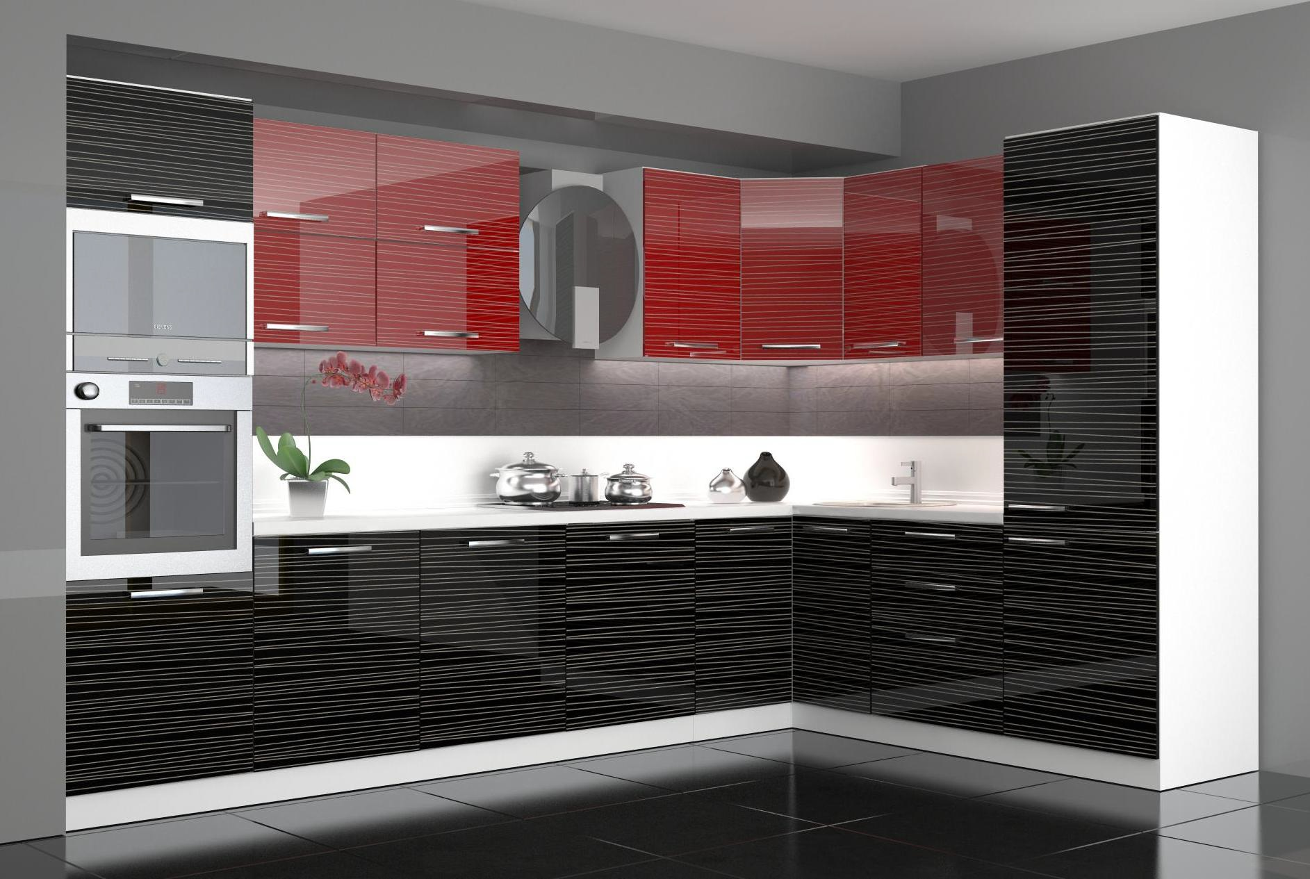 Cocina modular moderna MDF, PVC, negro, alto brillo rojo. | Exposé ...