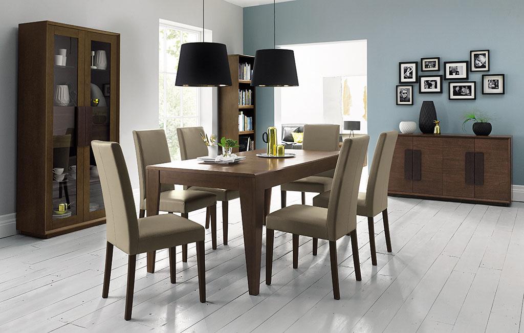 Juego de comedor en madera largo rectangular sillas en for Sillas comedor color gris
