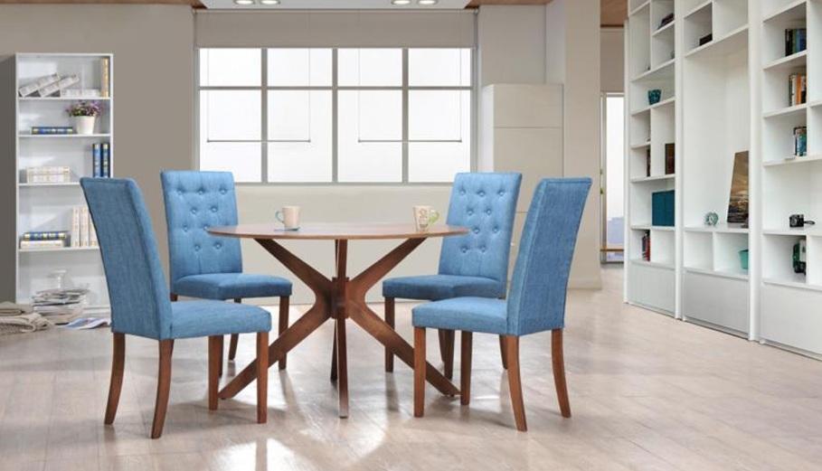 Juego de comedor moderno redondo con dise o en estructura sus sillas en tela azul con botones - Comedor de cuatro sillas ...