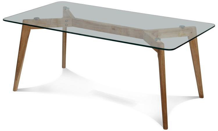 Mesa en vidrio templado 8mm de forma rectangular larga con for Mesa de vidrio rectangular