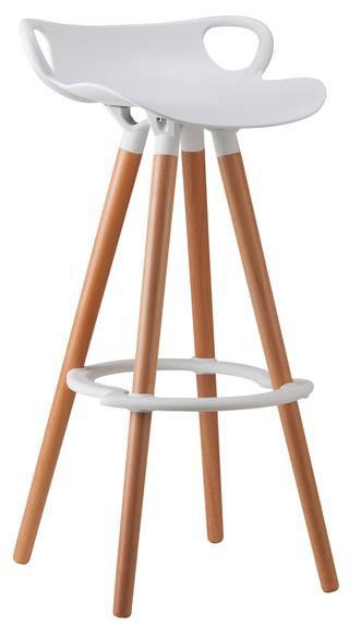 Silla para bar base en pl stico patas de madera asiento y for Sillas tipo bar en madera