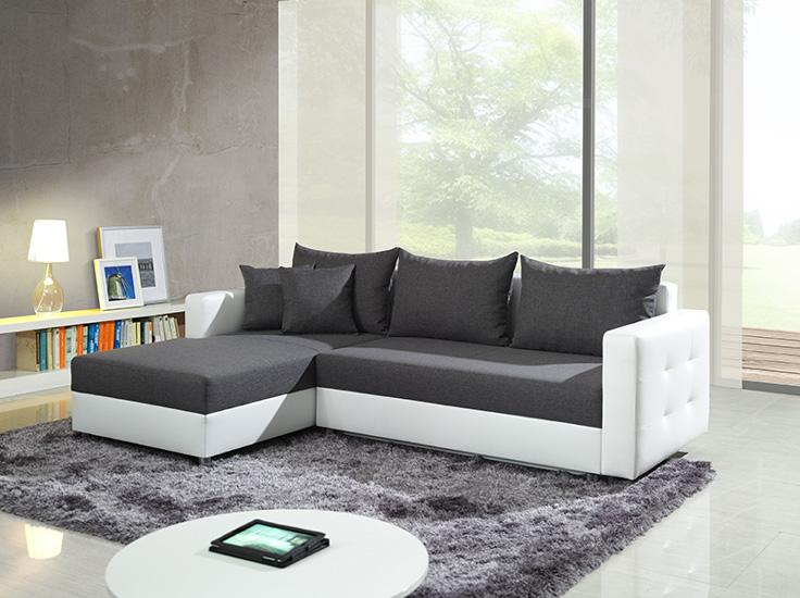 Sof en l gris y blanco expos adecuaci n de locales for Sofa gris y blanco